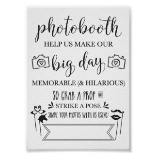 Noce Sign-5x7 de Photobooth Hashtag Poster