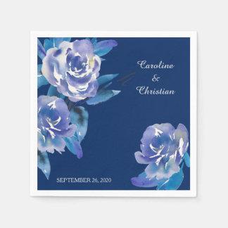 Noces d'argent florales bleues élégantes serviettes en papier