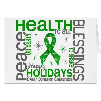 Noël 4 flocons de neige de donation d'organe carte de vœux
