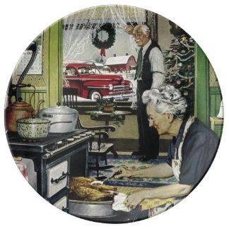 Noël à la maison vintage démodé de cuisine assiettes en porcelaine