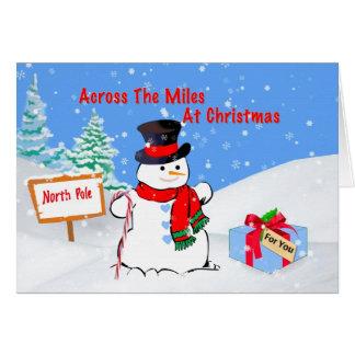 Noël, à travers les milles, bonhomme de neige, carte de vœux