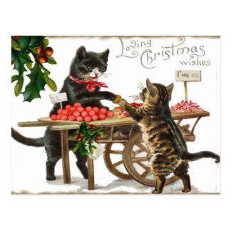 Noël affectueux du chat vintage souhaite la carte