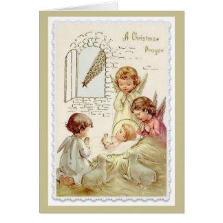 Noël, anges, bébé Jésus, agneau, Manger Carte De Vœux