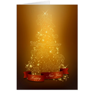 Noël Arbre-Heureux de Noël d'or nouveau Année-Joye Carte De Vœux