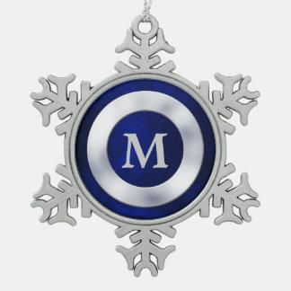 Noël argenté bleu de monogramme ornement flocon de neige pewter