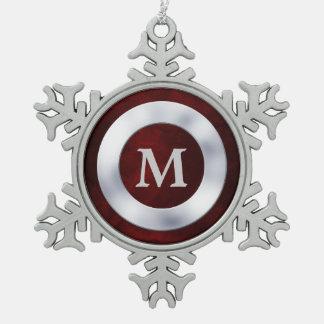 Noël argenté rouge de monogramme ornement flocon de neige pewter