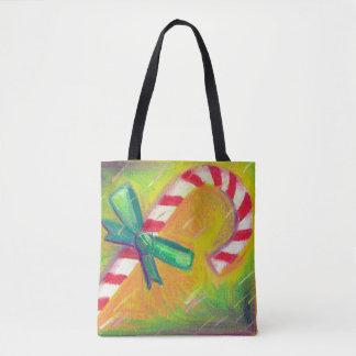 Noël artistique de couleur de sucre de canne de tote bag