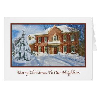 Noël aux voisins, scène à la maison de Milou Carte De Vœux