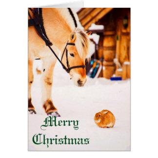 Noël avec des animaux de ferme extérieurs dans la cartes de vœux