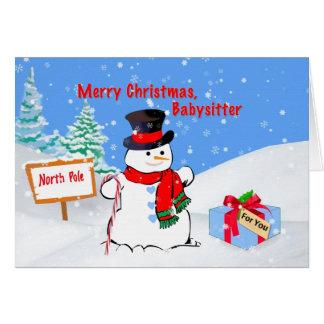 Noël, babysitter, bonhomme de neige, cadeau, neige carte de vœux