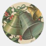 Noël Bells vintage et houx Autocollants Ronds