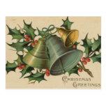 Noël Bells vintage et houx Carte Postale