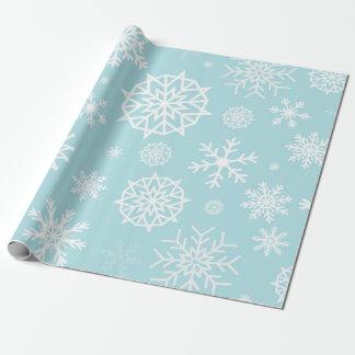 Noël blanc bleu de flocon de neige d'hiver papier cadeau noël
