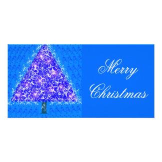 Noël bleu cartes avec photo