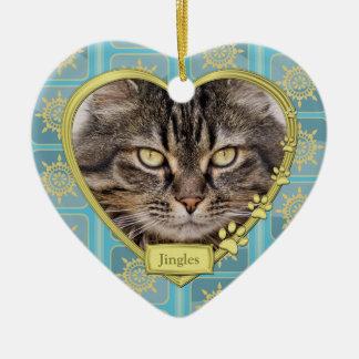 Noël bleu commémoratif de photo de coeur d'or de ornement cœur en céramique