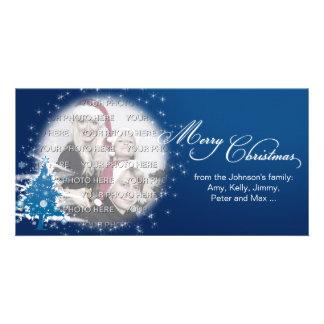 Noël bleu d'arbre de Noël Joyeux Modèle Pour Photocarte