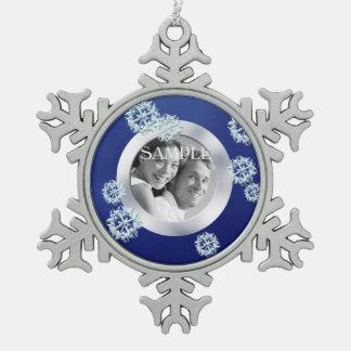 Noël bleu de modèle photo de flocon de neige ornement flocon de neige pewter