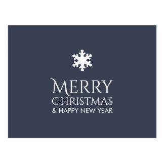 Noël bleu élégant simple de flocon de neige carte postale