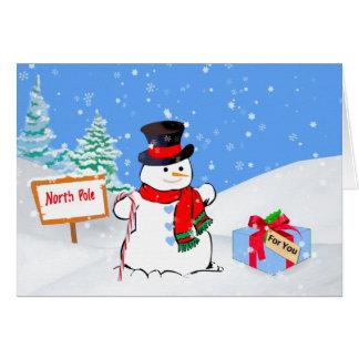 Noël, bonhomme de neige heureux, cadeau, neige carte de vœux