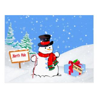 Noël, bonhomme de neige heureux, cadeau, neige carte postale