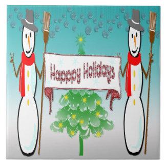 Noël - bonhommes de neige, bonnes fêtes tuile carreaux