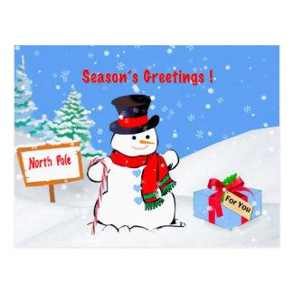 Noël, Bonnes Fêtes, bonhomme de neige, cadeau, Cartes Postales