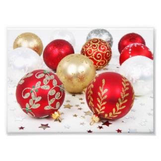 Noël brillant a scintillé des ornements - rouge impression photo