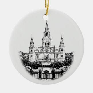 Noël carré personnalisé de la Nouvelle-Orléans Ornement Rond En Céramique