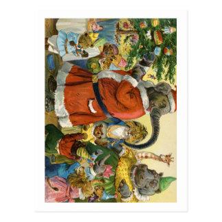 Noël chez la terre animale carte postale