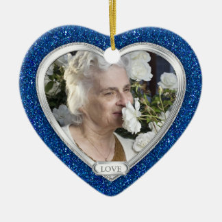 Noël commémoratif de coeur d'argent de bleu royal ornement cœur en céramique