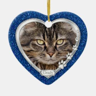 Noël commémoratif de photo de coeur de chat ornement cœur en céramique