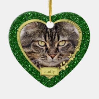 Noël commémoratif de photo de coeur d'or vert de ornement cœur en céramique