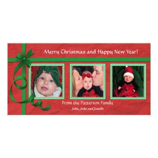 Noël courbe le trésor triple carte avec photo