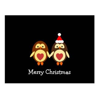Noël d'amour de hibou Joyeux Carte Postale