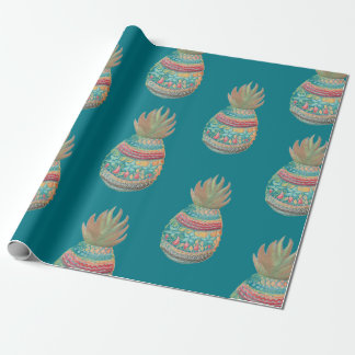 Noël d'ananas enveloppant l'Aqua Papier Cadeau
