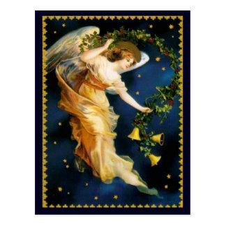 Noël d'ange de nuit étoilée carte postale