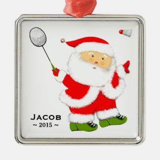 Noël de badminton collectable ornement carré argenté