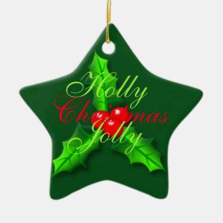 Noël de baies de houx ornement étoile en céramique