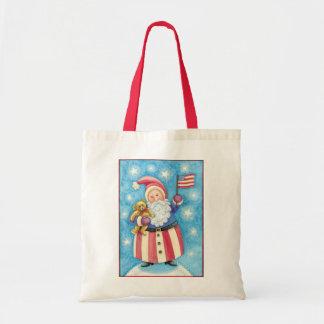 Noël de bande dessinée, le père noël patriote avec sac fourre-tout