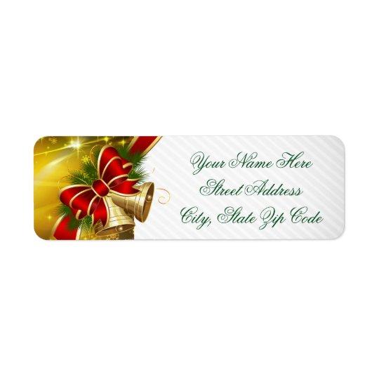 Noël de Bells d'or Joyeux Étiquettes D'adresse Retour