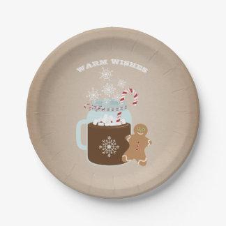 Noël de bonhomme en pain d'épice de chocolat chaud assiettes en papier