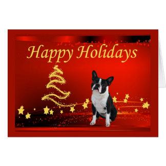 Noël de Boston Terrier tient le premier rôle la Carte De Vœux
