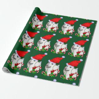Noël de casquette de Père Noël de caniche Papier Cadeau Noël