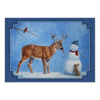 Noël de cerfs communs et de bonhomme de neige carton d'invitation  12,7 cm x 17,78 cm