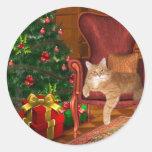 Noël de chat adhésifs ronds