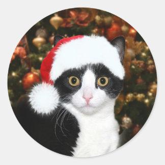 Noël de chat de minou de smoking sticker rond