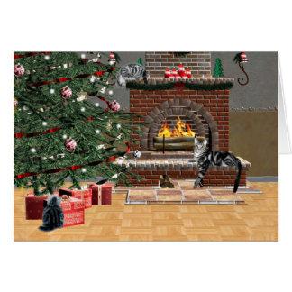 Noël de chat tigré carte de vœux