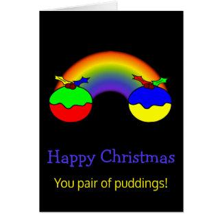 Noël de couples de puddings et d'arc-en-ciel de carte de vœux