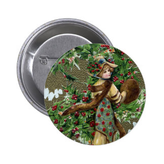 Noël de cru de baies de Madame et de houx Badge