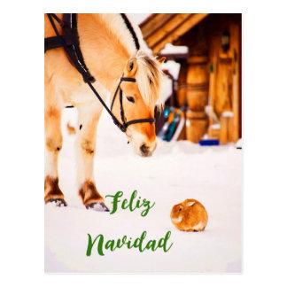 Noël de Feliz Navidad avec des animaux de ferme Carte Postale